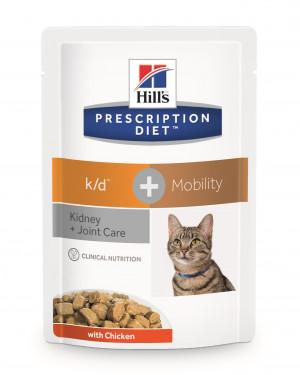 Hills PD k/d + Mobility Feline Pouch, Kylling, 12x85 gr